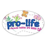 Pro-Life Flowers & Butterfly Sticker (Oval 50 pk)