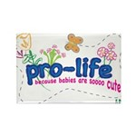 Pro-Life Flowers & Butterfly Rectangle Magnet (100