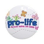 Pro-Life Flowers & Butterfly Ornament (Round)