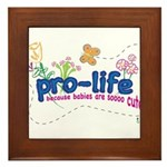 Pro-Life Flowers & Butterfly Framed Tile