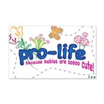 Pro-Life Flowers & Butterfly 22x14 Wall Peel