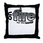 On Fire for the Lord 2 black Throw Pillow