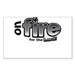 On Fire for the Lord 2 black Sticker (Rectangle 10