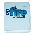 On Fire for the Lord 2 blue baby blanket