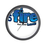 On Fire for the Lord 2 blue Wall Clock