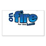 On Fire for the Lord 2 blue Sticker (Rectangle 50