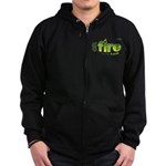 On Fire for the Lord 2 green Zip Hoodie (dark)