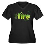 On Fire for the Lord 2 green Women's Plus Size V-N