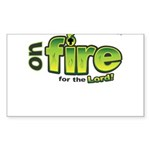 On Fire for the Lord 2 green Sticker (Rectangle 10