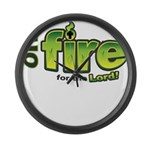 On Fire for the Lord 2 green Large Wall Clock