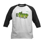 On Fire for the Lord 2 green Kids Baseball Jersey