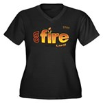 On Fire for the Lord 2 red Women's Plus Size V-Nec