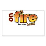 On Fire for the Lord 2 red Sticker (Rectangle)