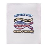 Airforce Aunt Throw Blanket