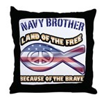 Navy Brother Throw Pillow