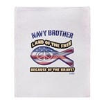 Navy Brother Throw Blanket