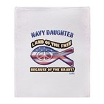 Navy Daughter Throw Blanket