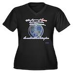 Power of Love Women's Plus Size V-Neck Dark T-Shir