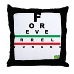FROG eyechart Throw Pillow