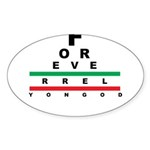 FROG eyechart Sticker (Oval 50 pk)