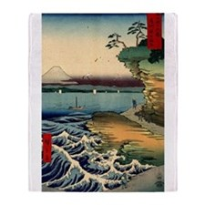 Japanese Ukiyo-e Mt. Fuji Throw Blanket