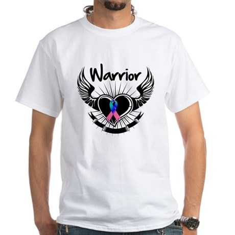 Warrior Thyroid Cancer White T-Shirt