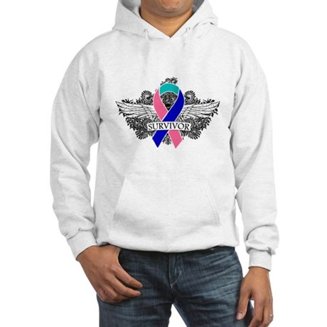 Survivor Wings Thyroid Cancer Hooded Sweatshirt