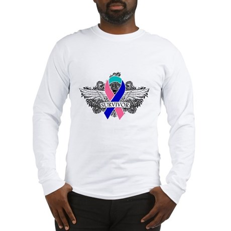 Survivor Wings Thyroid Cancer Long Sleeve T-Shirt