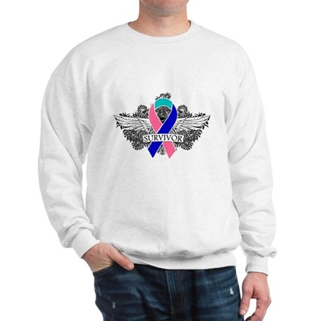 Survivor Wings Thyroid Cancer Sweatshirt