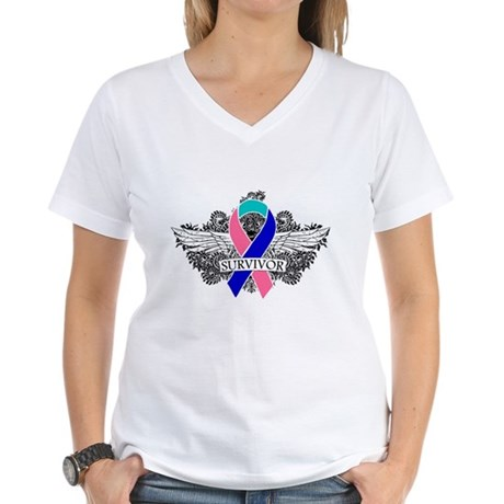 Survivor Wings Thyroid Cancer Women's V-Neck T-Shi