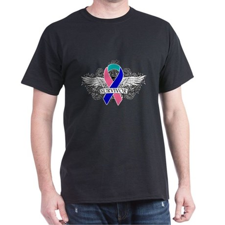 Survivor Wings Thyroid Cancer Dark T-Shirt