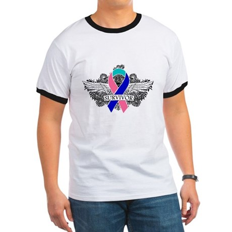 Survivor Wings Thyroid Cancer Ringer T