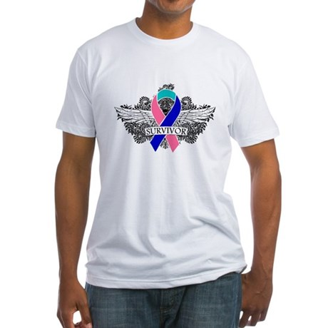 Survivor Wings Thyroid Cancer Fitted T-Shirt