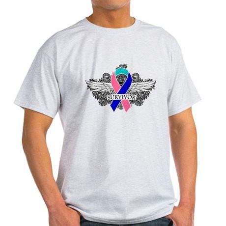 Survivor Wings Thyroid Cancer Light T-Shirt