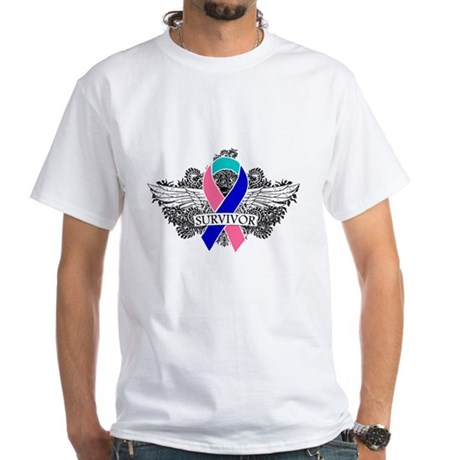 Survivor Wings Thyroid Cancer White T-Shirt