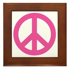 Hot Pink Peace Sign Framed Tile