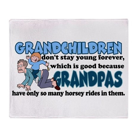 Grandpa's Horsey Rides Throw Blanket