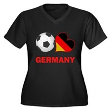 German Soccer Fan Women's Plus Size V-Neck Dark T-