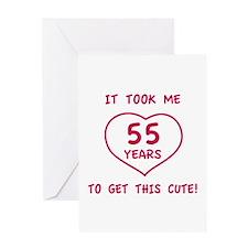 Funny 55th Birthday (Heart) Greeting Card