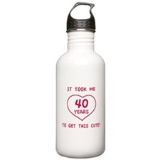 Funny 40th Birthday (Heart) Water Bottle