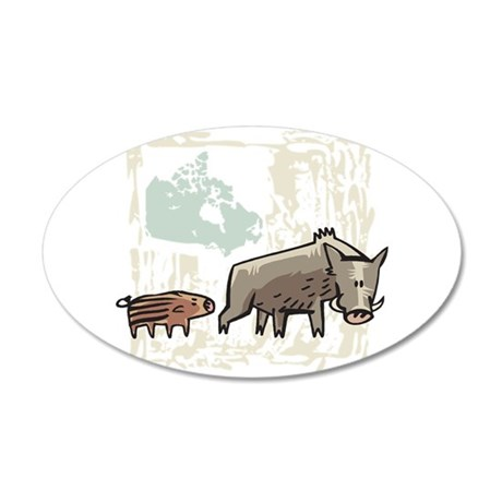 Mommy & Baby Canadian Boars 22x14 Oval Wall Pe