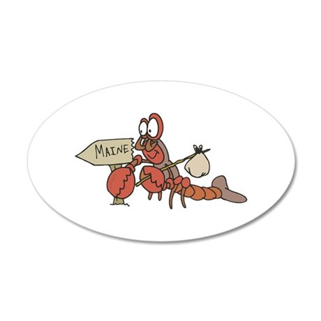 Lobster Moving to Maine 22x14 Oval Wall Peel