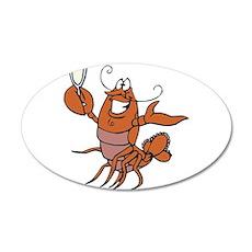 Toasting Wine Lobster 38.5 x 24.5 Oval Wall Peel