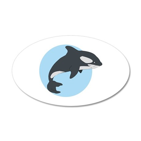 Cute Killer Whale 22x14 Oval Wall Peel