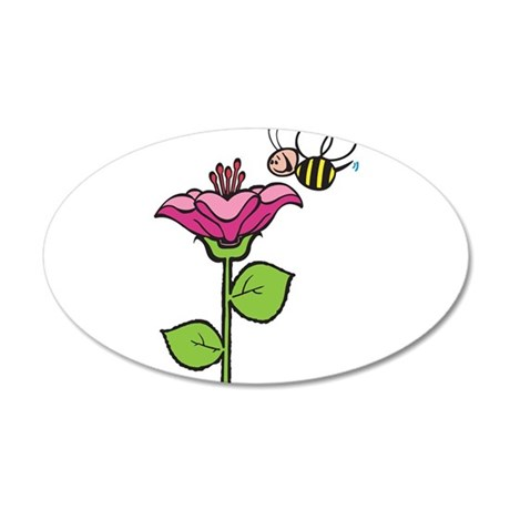 Cute Silly Bee With Flower 38.5 x 24.5 Oval Wall P