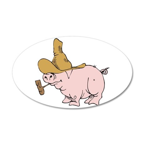 Hillbilly Country Pig 22x14 Oval Wall Peel