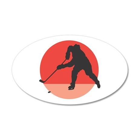Hockey Player Silhouette 22x14 Oval Wall Peel