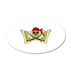 Pirate Skull Scroll 22x14 Oval Wall Peel