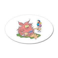 Cute Pink Troll with Ice Crea 22x14 Oval Wall Peel