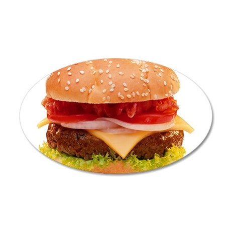 yummy cheeseburger photo 20x12 Oval Wall Decal